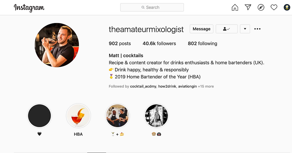 Instagram profile of the The Amateur Mixologist.  Matt his profiles covers cocktail recipes for drink enthusiasts and home bartenders.