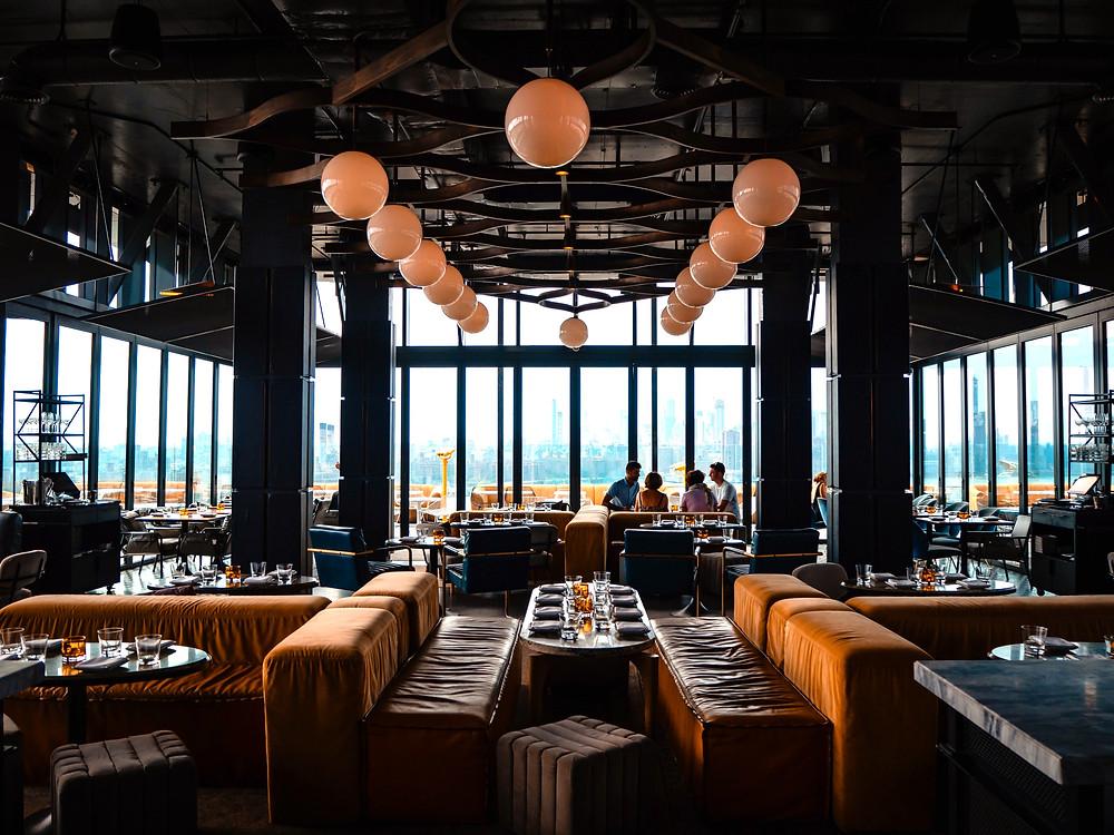 Fine dining restaurant with an amazing interior design.