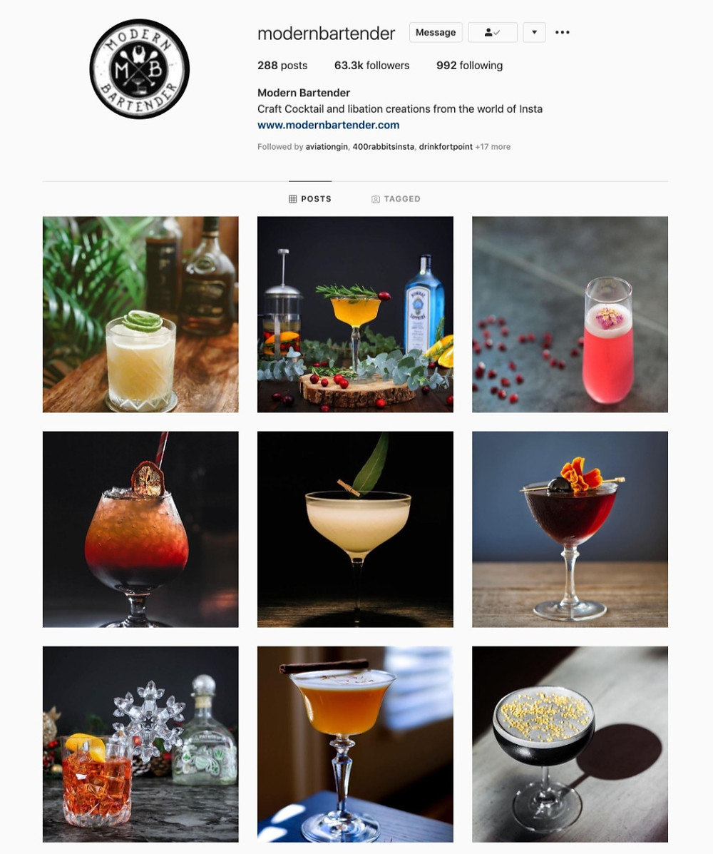 Instagram profile of the Modern Bartender. Sharing craft cocktails and libation creations from the world of instagram.