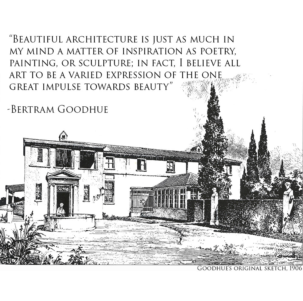 Bertram Goodhue drawing and quote