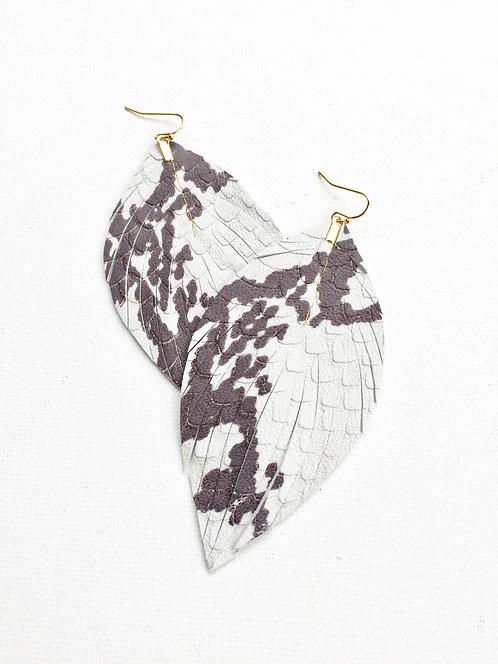 Snakeprint Feather Earrings