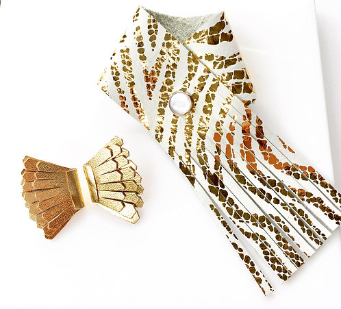 Fringe leather cuff in white and gold exotic print
