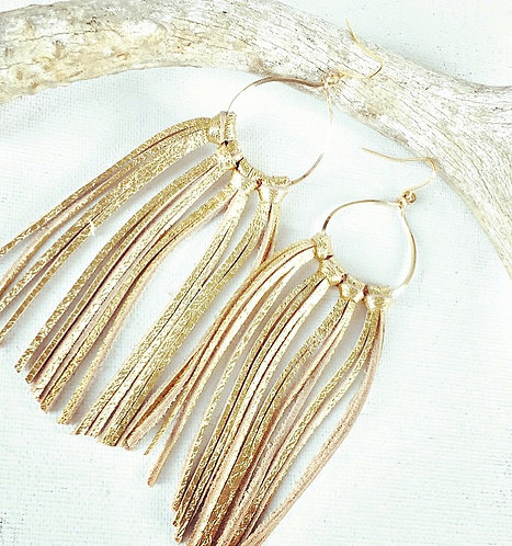 Fringe with gold leather