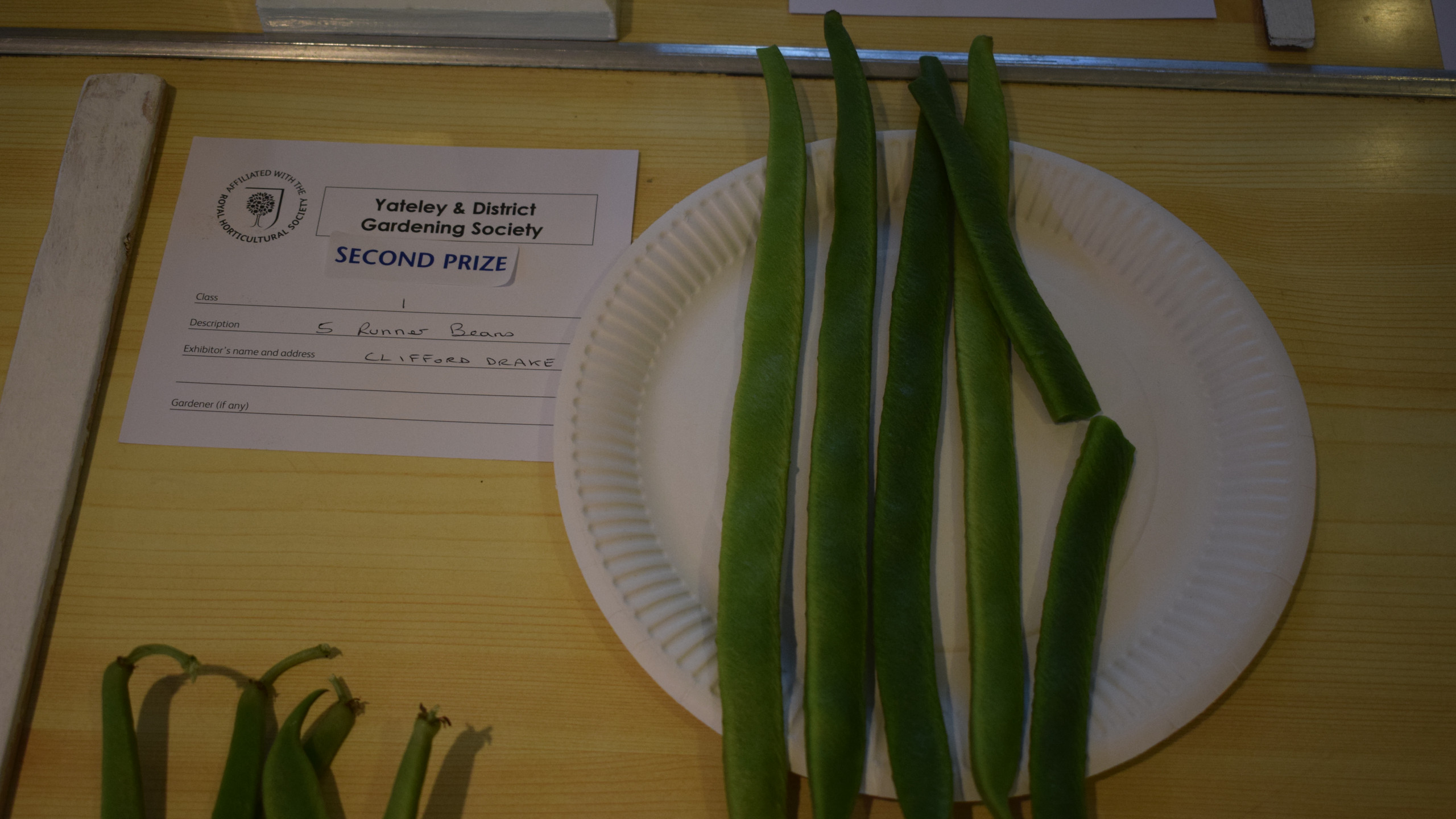 2nd prize for 5 runner beans