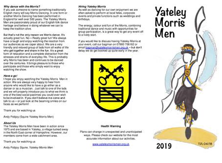 Yateley Morris Men - 2019 Calendar