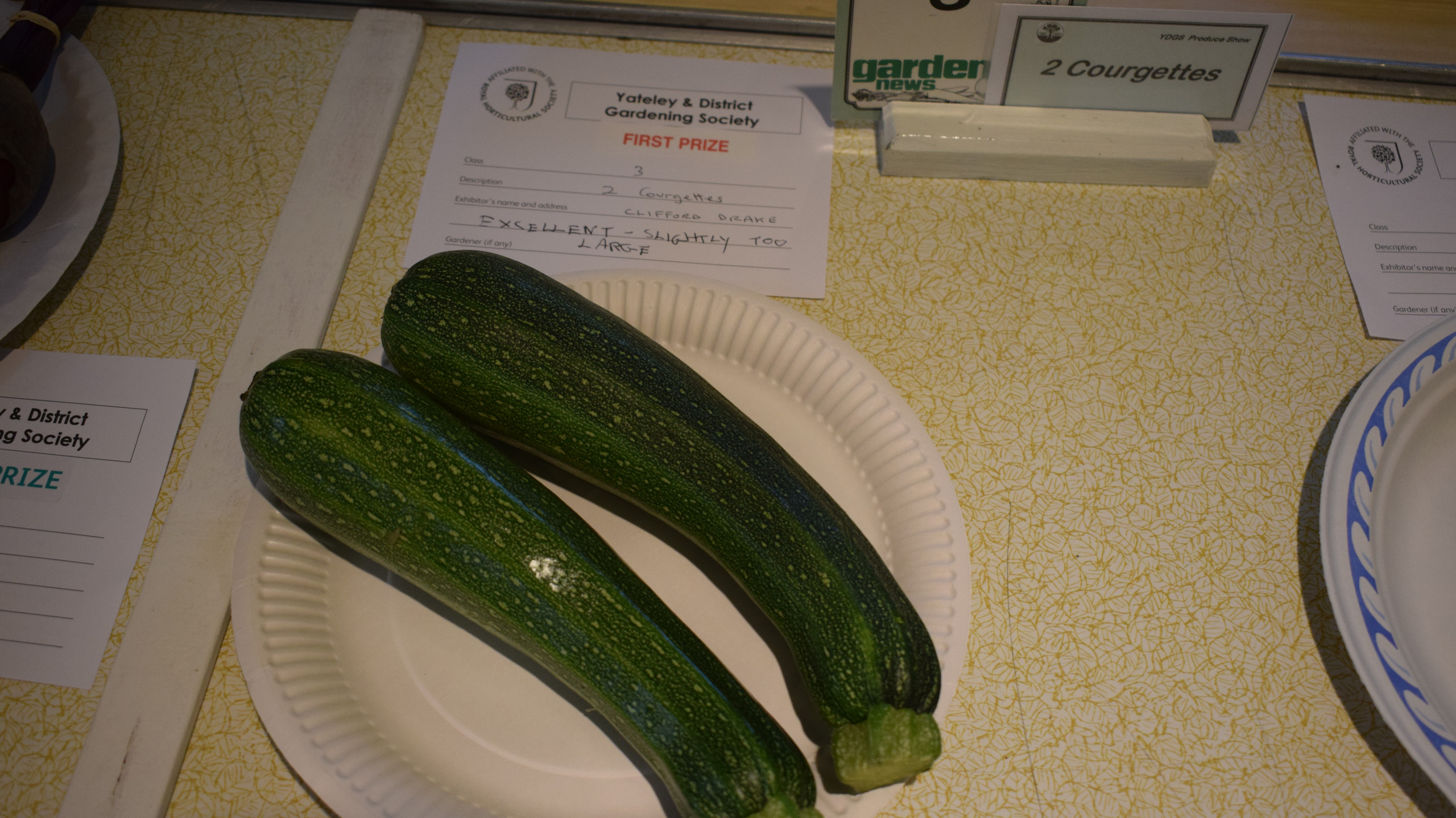 1st prize for 2 courgettes