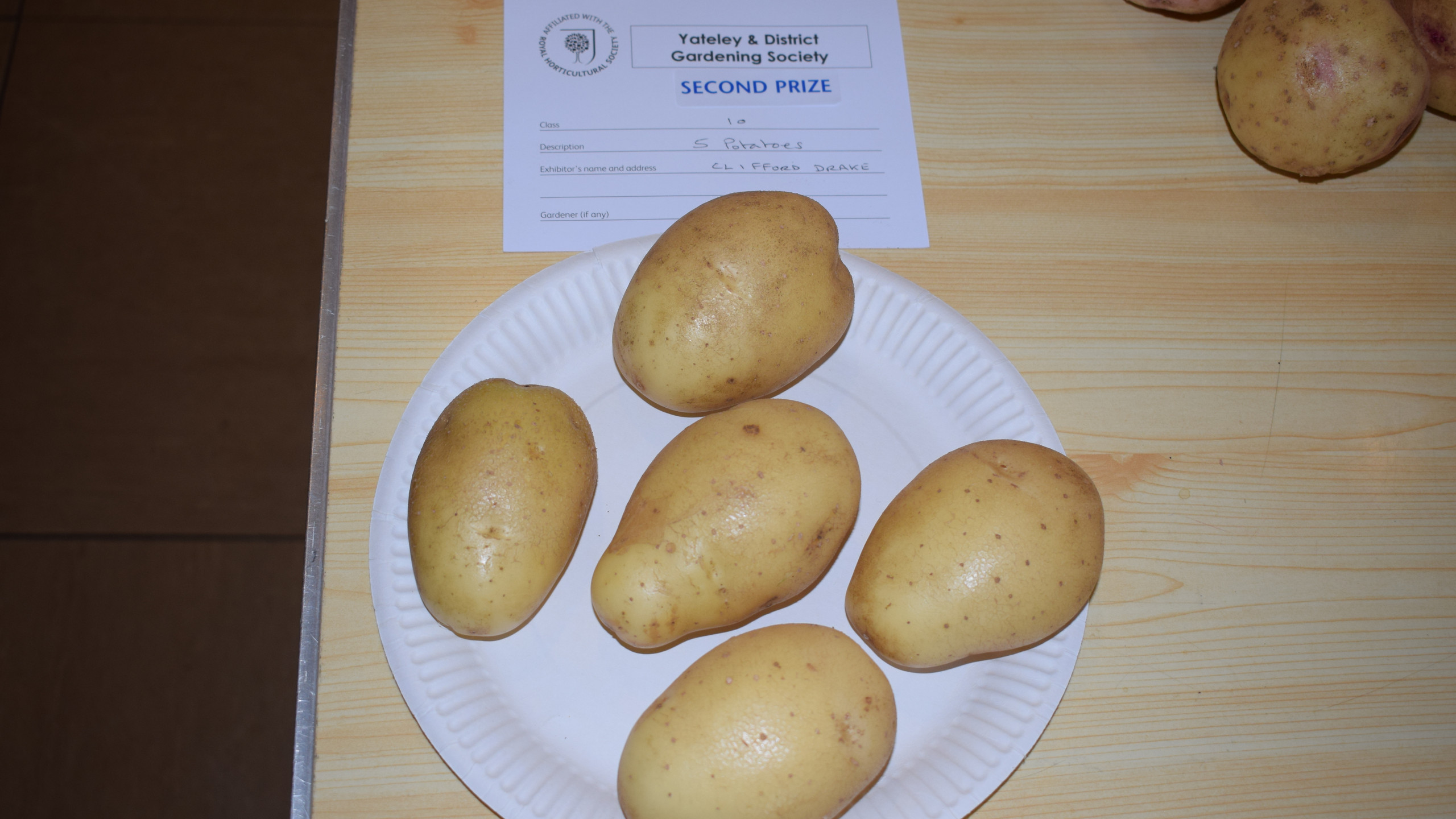 2nd prize for 5 potatoes