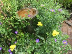 Cherie Cheatham - Garden with bird bath.