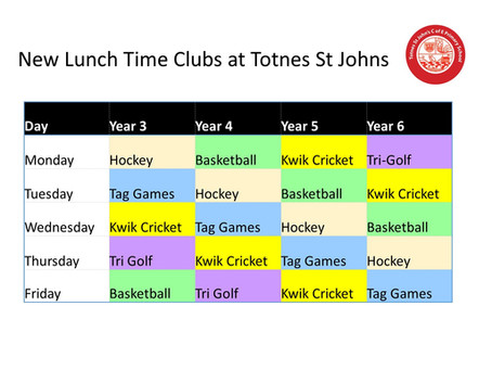New KS2 lunchtime Activities