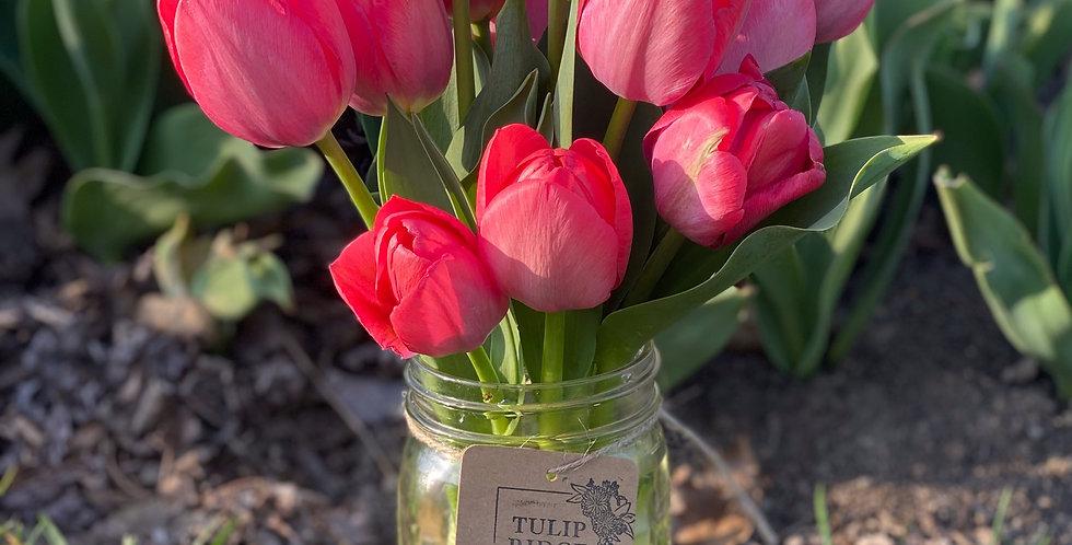 Mason Jar Tulip Bouquet- DELIVERY