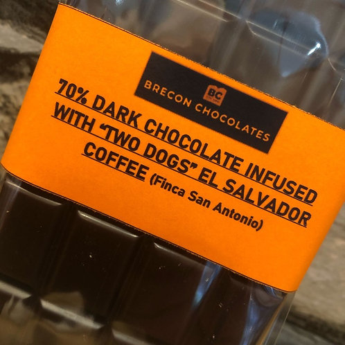 70% Dark Chocolate infused with TWO DOGS El Salvador Coffee