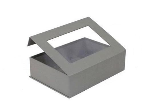 Card Gift Box with Window - Grey