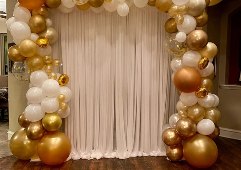 Engagement Party Balloon Garland with Draping