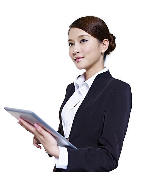 studio portrait of an asian business exe