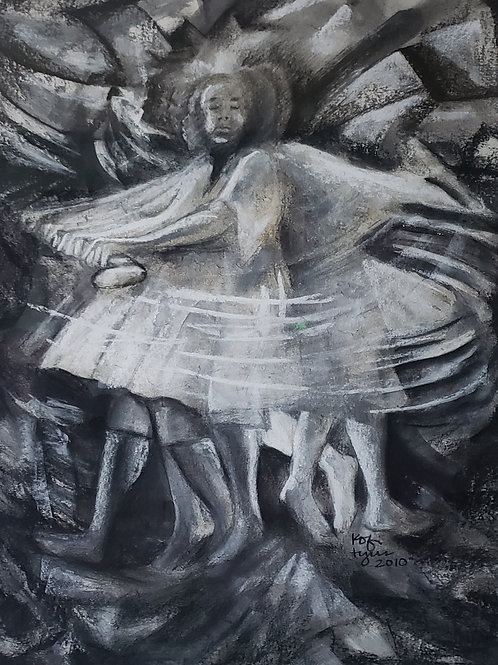 """""""TIGARE I"""" Charcoal Painting"""