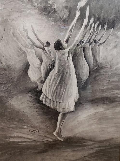 """""""ASUO GYEBI II"""" Charcoal Painting"""