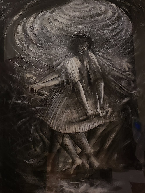 """""""TIGARE V"""" Charcoal Painting"""