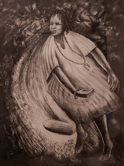 """""""TIGARE VIII"""" Charcoal Painting"""