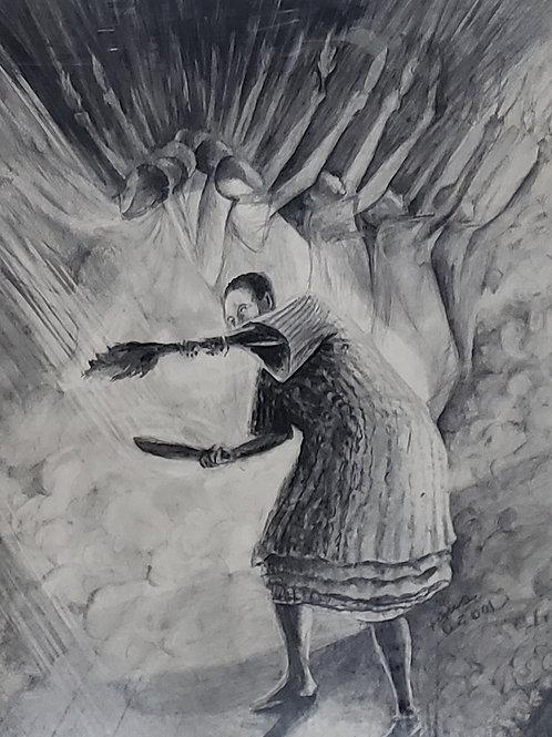 """ASUO GYEBI I"" Charcoal Painting"