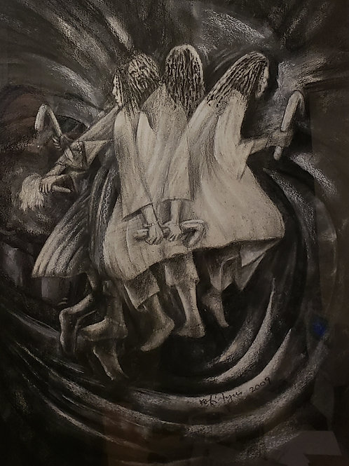 """""""TIGARE VII"""" Charcoal Painting"""