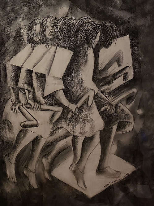 """""""TIGARE III"""" Charcoal Painting"""