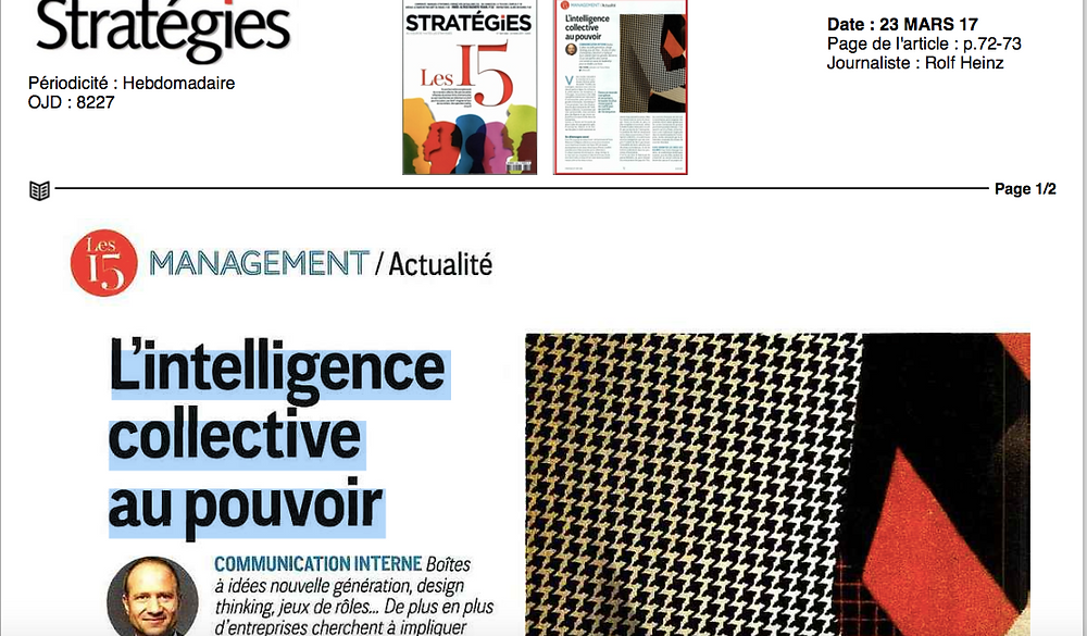Article Strategies - L'intelligence au pouvoir - paule Boffa-Comby - Leader Collectif