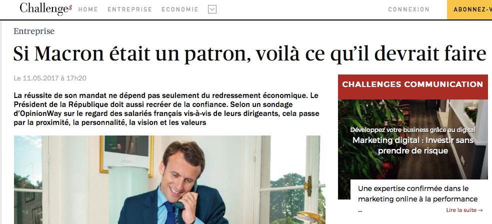 Si Macron était un patron, voila ce qu'il devrait faire-Challenges-Leader collectif