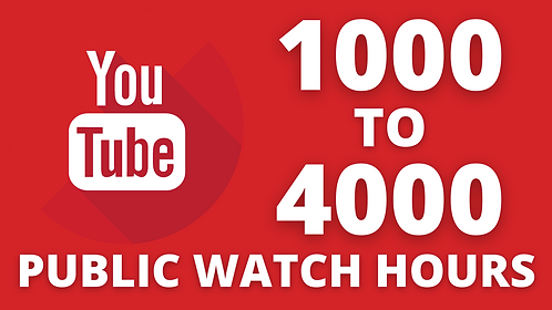 1000 To 4000 YouTube Videos Public Watch Hours (Time) High Quality
