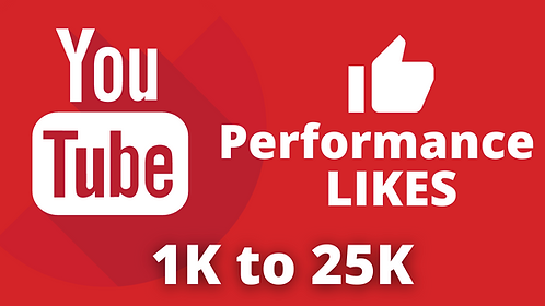 Performance Likes for YouTube Video   1K to 25K   5K to 10K Per Day
