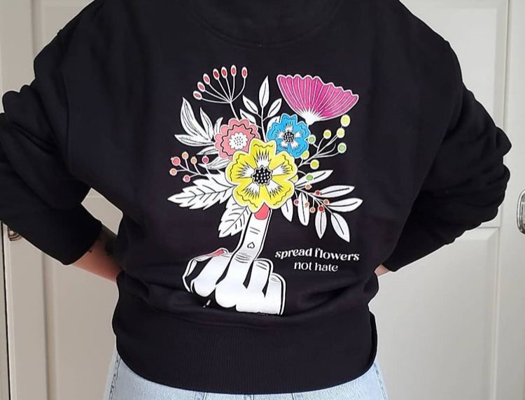 Black Spread Flowers Not Hate - Unisex Sweatshirt