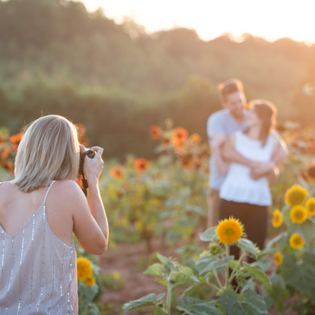 Couple Portraits in a Sunflower Field | Beechwood Farms