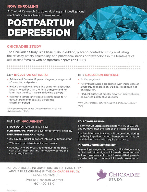 Sage Adolescent PPD Study Flyer- Chickad