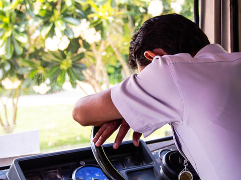 The bus driver fall asleep on the steering wheel.jpg