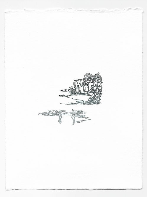"""Beachwalkers"" and ""Boulders"" Relief Print, Variation 6"