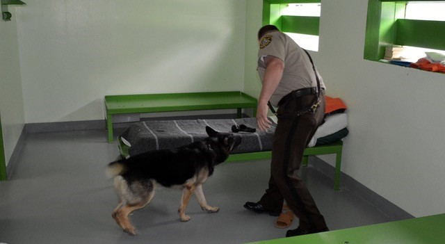 Lt. Rackliffe and K9 Justice searching the jail.