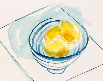 Lisa Fenton Still Life Lemons and Stripey Bowl