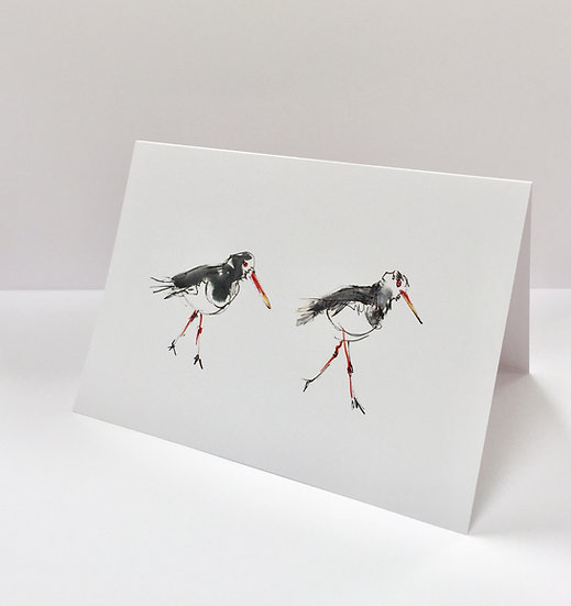 Two Oyster Catchers Card