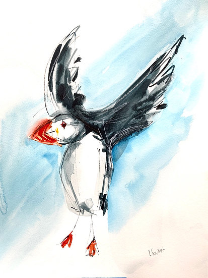 A Handa Puffin with blue background