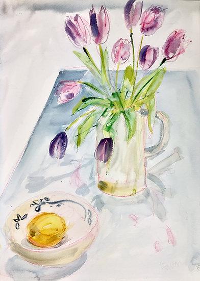 Tulips, lemon and Menorcan bowl