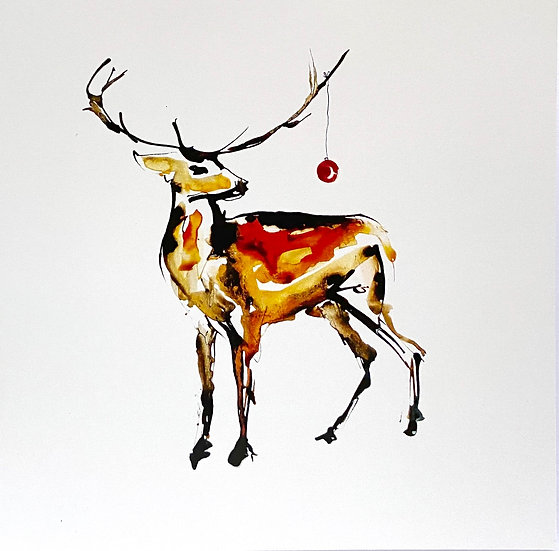 Stag with bauble