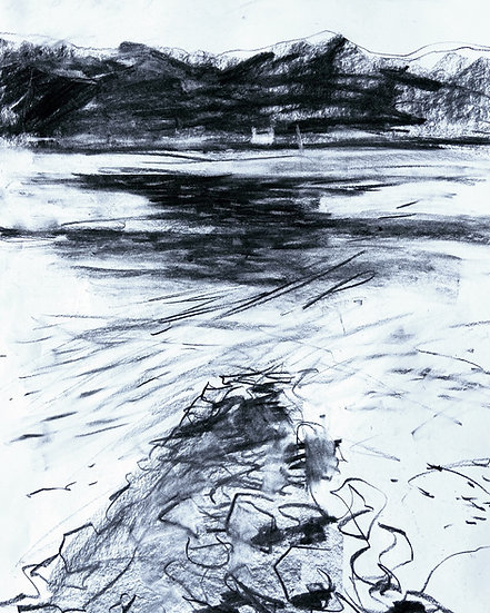 Large charcoal drawing from the Old Pier, Shieldaig.