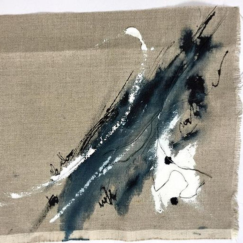 Therein lies the problem.jpg Ink Acrylic Linen thread on raw canvas.jpg