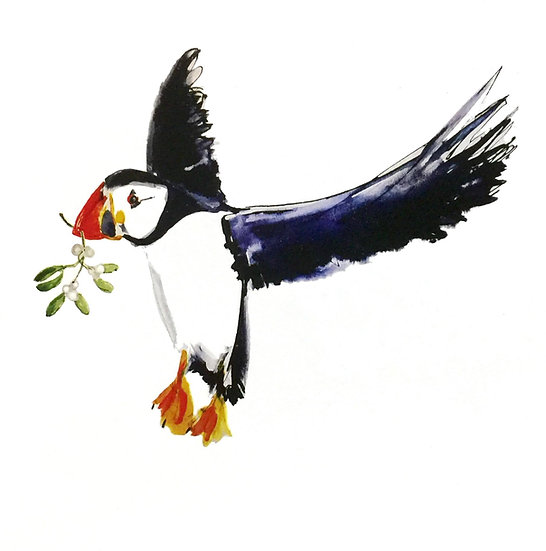 Puffin with Mistletoe Christmas Card