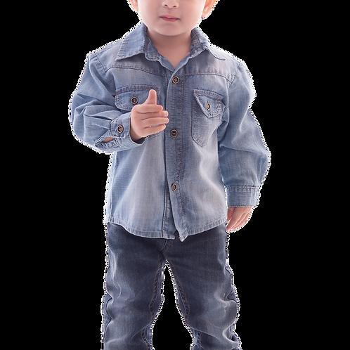 Camisa Jeans com Dois Bolsos Manga Longa