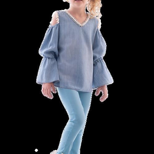 Conjunto Bata Jeans com Recorte Manga Longa I Calça Alfaiataria com Elastano