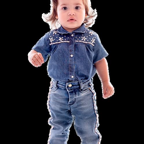 Body Manga Curta Jeans com Elastano