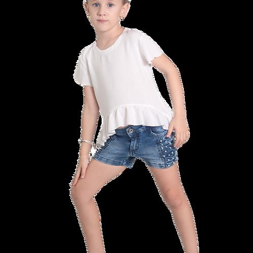 Shorts Jeans Franzido Lateral Pérolas