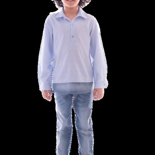 Conjunto Bata Manga Longa e Calça Jeans Básica