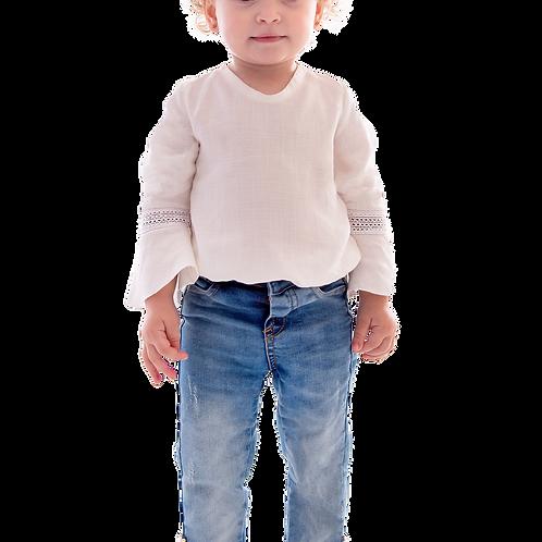 Calça Jeans com Elastano Abertura Barra