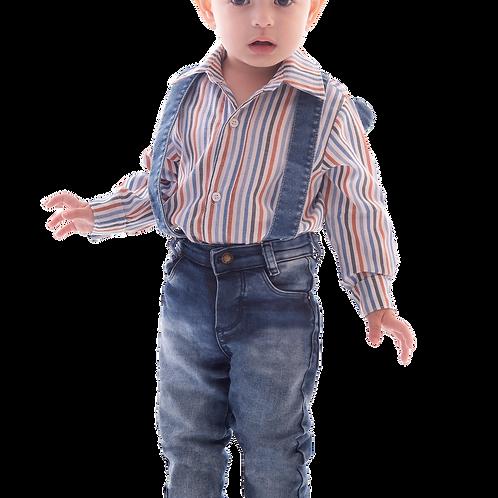 Camisa Listras Manga Longa e Mochila em Jeans e Calça Elastano